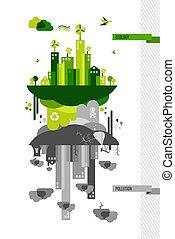 meio ambiente, cidade, conceito, verde, ilustração