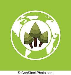 meio ambiente, conceito, globo, gráfico, ícone
