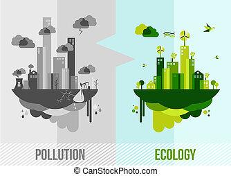 meio ambiente, conceito, verde, ilustração