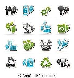 meio ambiente, ecologia, ícones