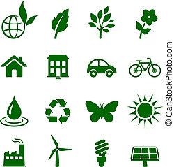 meio ambiente, elementos, jogo, ícone