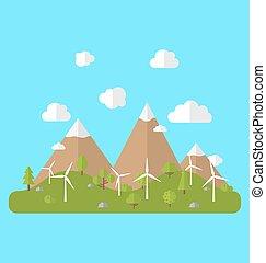 meio ambiente, geradores, vento