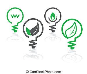 meio ambiente, luz verde, bulbo, ícones