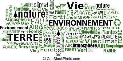 meio ambiente, palavra, francês, nuvem