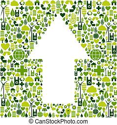 meio ambiente, símbolo, cuidado, seta, ícones