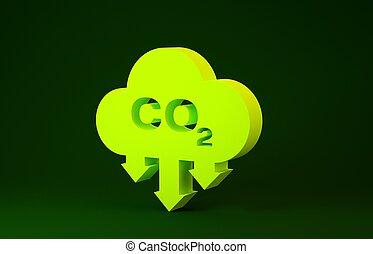 meio ambiente, verde, 3d, smog, isolado, emissões, ícone, nuvem, símbolo, carbono, ilustração, conceito, poluição, render, concept., minimalism, experiência., amarela, bióxido, co2, fórmula