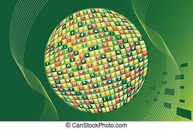 meio ambiente, verde, apps, fundo, mundo