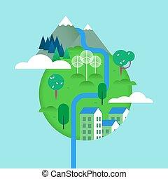 meio ambiente, verde, conceito, paisagens, mundo