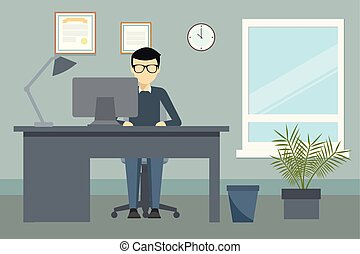 meio ambiente, vetorial, desenho, escritório