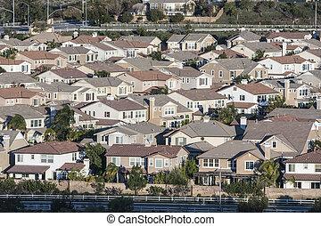 meio, califórnia, suburbia, classe