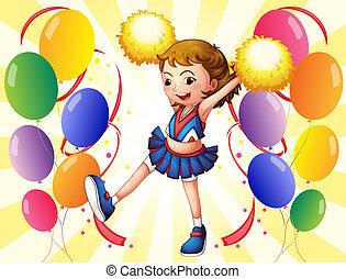 meio, cheerleader, balões, dançar