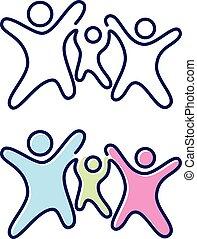 meio, crianças, abstratos, pessoas, três, símbolo, vetorial, ícone