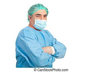 meio envelheceu, cirurgião, homem