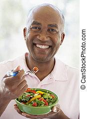 meio envelheceu, comer, salada, homem
