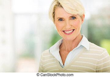meio envelheceu, mulher, closeup