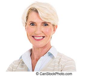 meio envelheceu, mulher, closeup, retrato