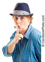 meio envelheceu, mulher, com, segredo
