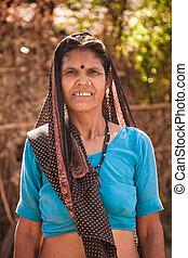 meio, idade, indianas, aldeão, mulher