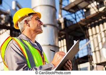 meio, idade, petróleo, trabalhador fábrica
