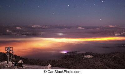 meio leitoso, em, carpathian, montanhas