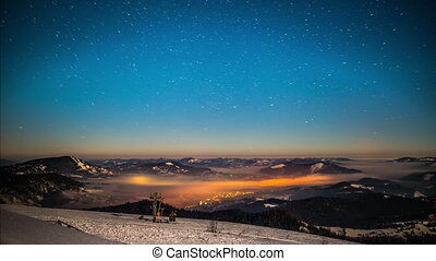 meio leitoso, lapso tempo, em, carpathian, montanhas