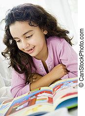 meio, menina, livro, leitura, oriental
