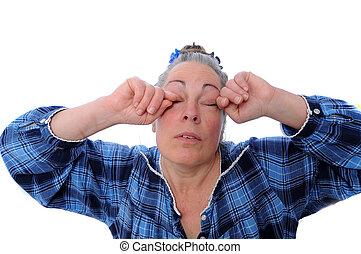 meio, mulher, envelhecido, cansado