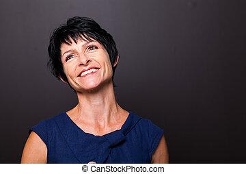 meio, mulher, envelhecido, optimista