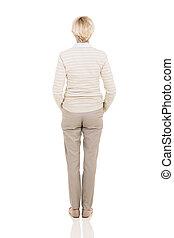 meio, mulher, envelhecido, vista traseira