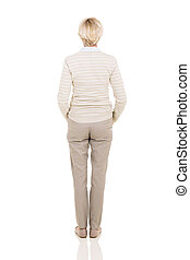 meio, mulher, parte traseira, envelhecido, vista