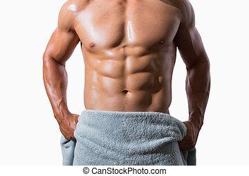 meio, muscular, homem, seção, embrulhado, toalha, shirtless