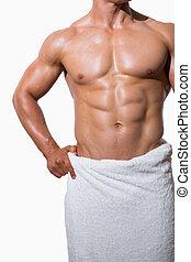 meio, muscular, homem, seção, toalha branca, shirtless