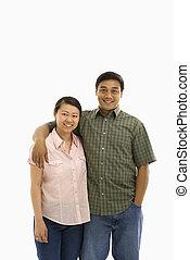meio, par., adulto, asiático