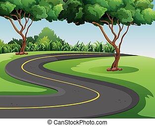 meio, parque, estrada, vazio