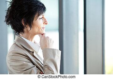 meio, pensativo, envelhecido, executiva