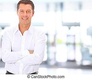 meio, sorrindo, envelhecido, homem negócio