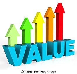 meios, cima, valioso, aumento, valor, valor