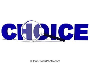 meios, conceito, ícone, escolha, preferências, -, decidir, tendo, opções, 3d, ilustração