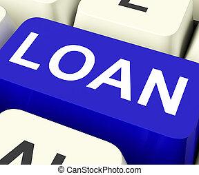 meios, empréstimo, ou, emprestar, tecla, emprestando