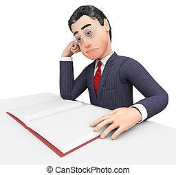 meios, estudar, executivo, livro, homem negócios, aprendido...