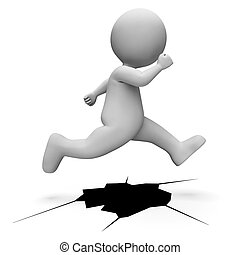 meios, personagem, salto, fazendo, situação, difícil, realização, 3d