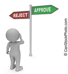 meios, sinal, fazendo, rejeite, aprovar, garantia, 3d
