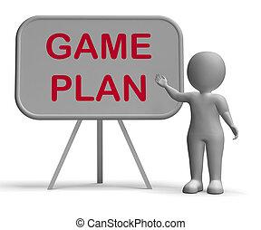 meios, whiteboard, jogo, planificação, plano, esquema, aproximação, ou