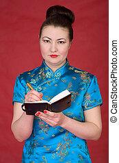 meisje, aantekenboekje, japanner