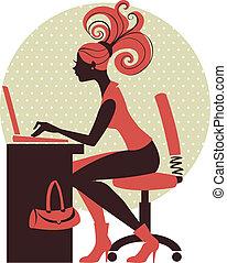meisje, aantekenboekje, silhouette