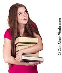 meisje, achtergrond, jonge, vrijstaand, books., witte