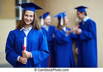 meisje, afgestudeerd
