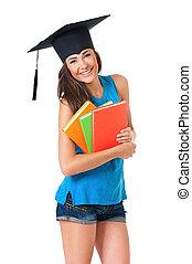 meisje, afgestudeerd, student