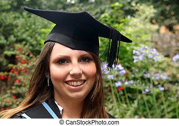meisje, afgestudeerd, vrolijke