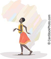 meisje, afrikaan, dancing